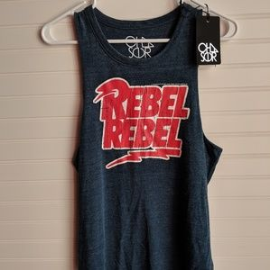 NWT Chaser David Bowie Rebel Rebel Tank Top